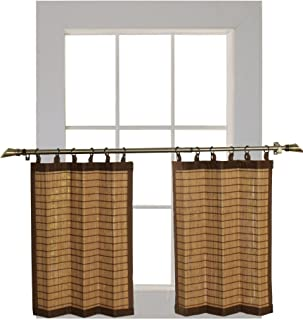 Bamboo Ring Top Curtain BRP07 2-Piece 48 L x 24-Inch H Tier Set, Colonial Brown.