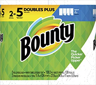 Bounty Select-A-Size Paper Towels, White, 2 Double Plus Rolls = 5 Regular Rolls
