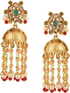 Efulgenz Indian Bollywood Antique Gold Plated Traditional Wedding Crystal Pearl Tassel Jhumka Jhumki Earrings Jewelry Set