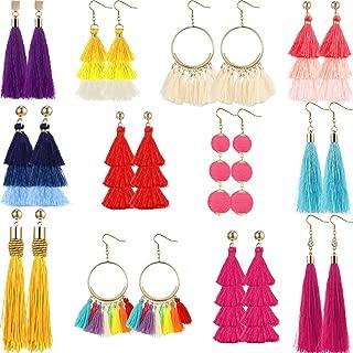 12 Paar Bunte Lange Geschichteten Thread Baumeln Ohrringe Böhmischen Tiered Quaste Ohrringe Ohrstecker Geschenk-Set für Mädchen und Damen