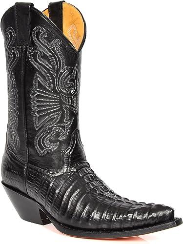 House Of Leather Bottes Cowboy en Cuir Véritable Glisser sur Bout Pointu Veau Longueur Talons Western 02CA-Hi Noir