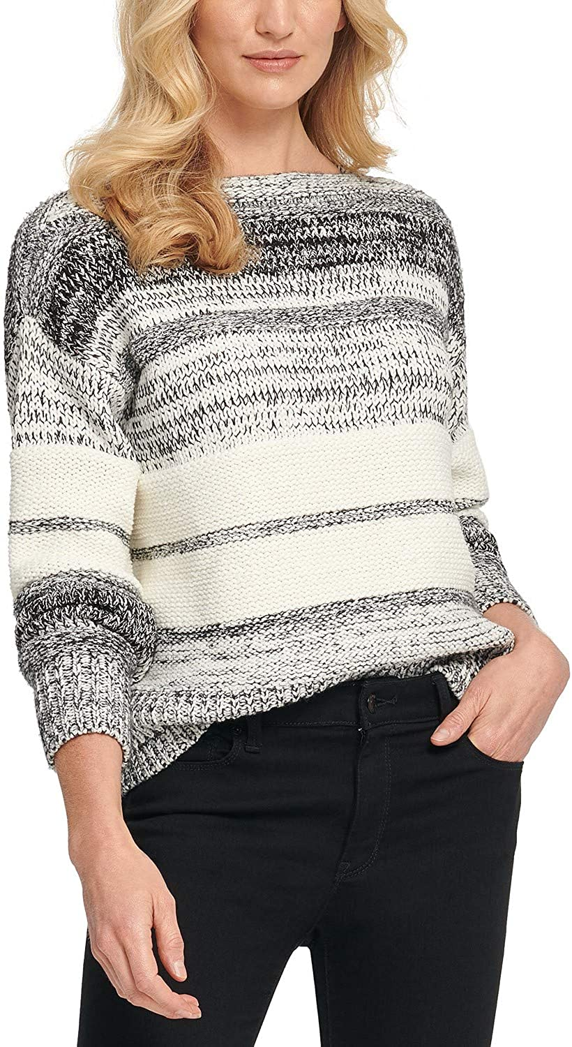 Max 59% OFF Branded goods D K N Y Mixed-Stitch Black Sweater Ivory M