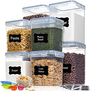 HOOJO Airtight Food Storage Containers with Lids, 8 Piece Large Flour and Sugar Containers, BPA Free Plastic Dry Food Stor...