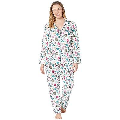 BedHead Pajamas Plus Size Long Sleeve Classic Notch Collar Pajama Set (Drink Me) Women