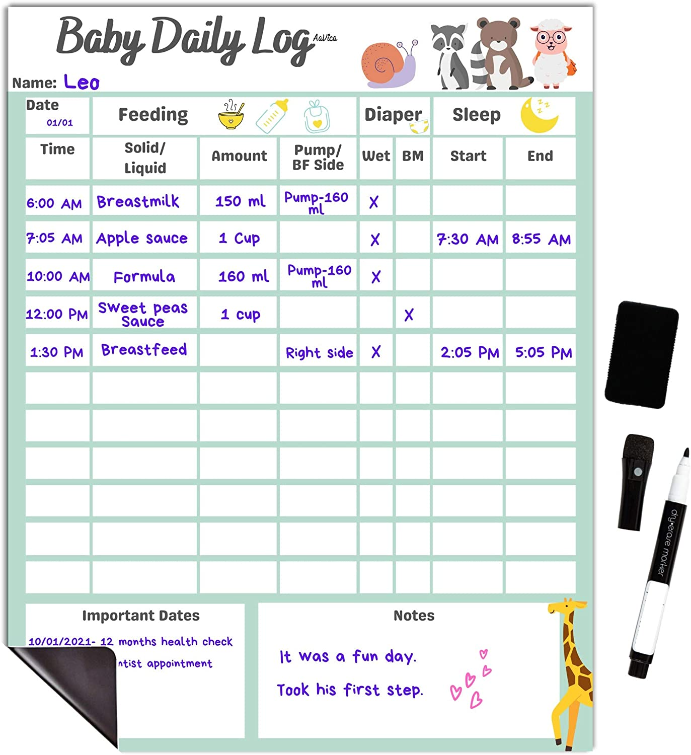 Baby Cheap mail order shopping Daily Log Chart Dry Erase Whiteboard for Logging shipfree Sche