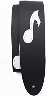 Perri's Leathers Ltd. - Guitar Strap - Leather - The Famous Collection - Music Notes - Black/White - Adjustable - For Acou...