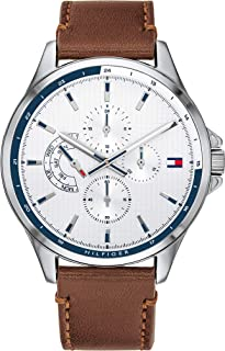 Tommy Hilfiger Men'S White Dial Brown Leather Watch - 1791614