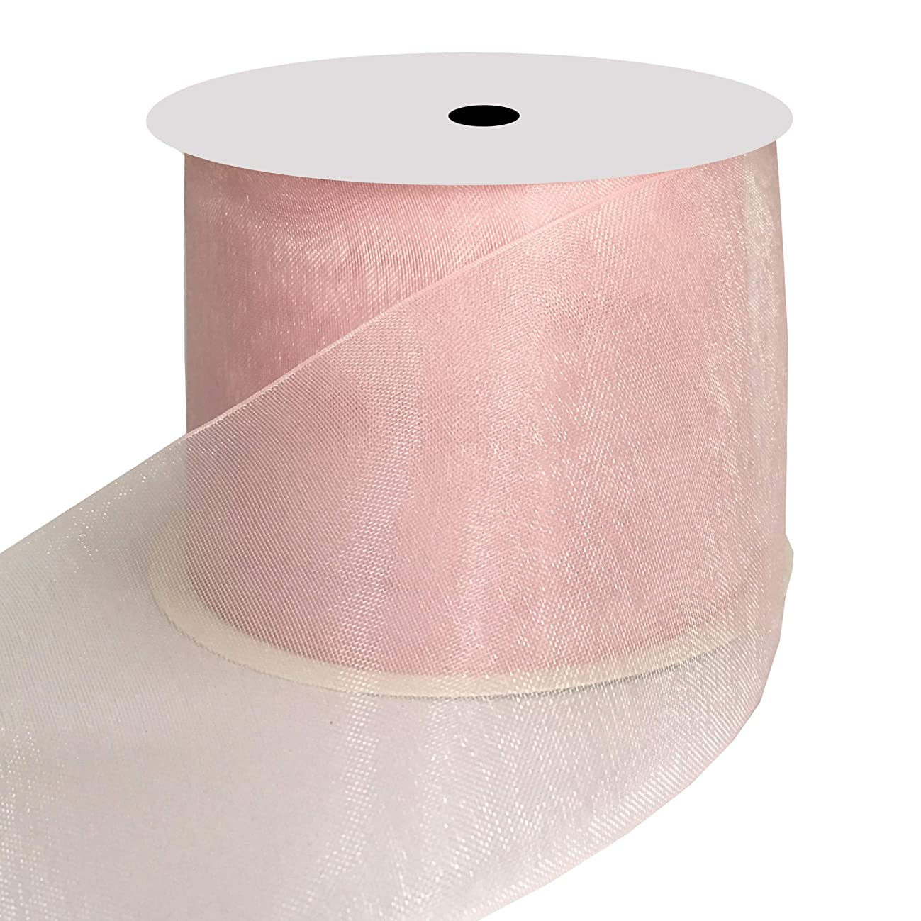 DUOQU 2 inch Wide Shimmer Sheer Organza Ribbon 20 Yards Pearl Pink