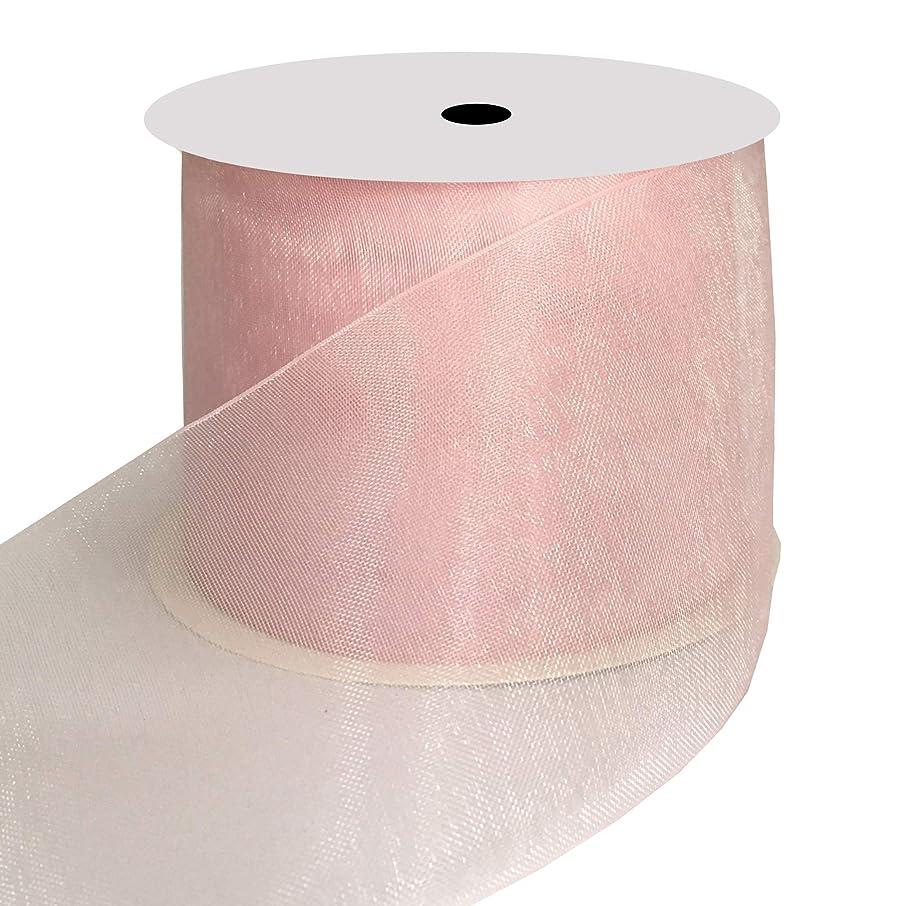 DUOQU 2 inch Wide Shimmer Sheer Organza Ribbon 20 Yards Pearl Pink