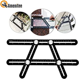 Amenitee Angle Layout Measuring Ruler|Universal Angularizer Ruler - Full Metal Multi Angle Measuring Tool-Upgraded Aluminum Alloy Ruler (Black)