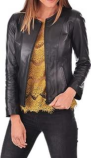 Azrah 100% Leather Jacket for Women - Collarless Deep Neck & Slim Fit - Moto, Bomber, Biker Winter Casual Wear