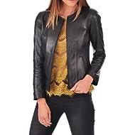 DOLLY LAMB Women's Lambskin... DOLLY LAMB Women's Lambskin Leather Moto Biker Jacket - Winter Wear - Round Neck Collar