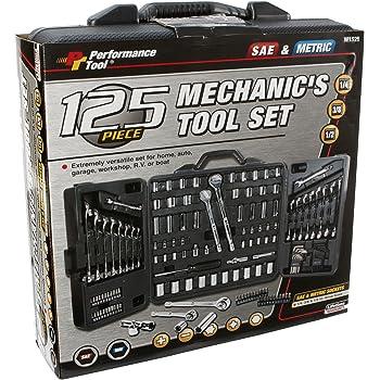 "PERFORMANCE TOOL W1525 SAE/Metric 125 Piece Mechanics Tool Set (1/4"", 3/8"" & 1/2"" Drive)"