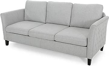 Christopher Knight Home Betty Traditional Fabric Sofa, Light Gray, Dark Brown
