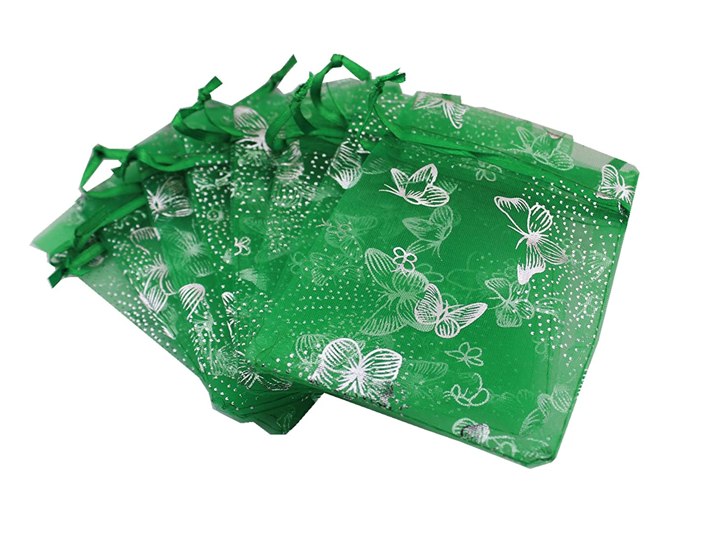 QIANHAILIZZ 5 x 7 Inch 100 Butterfly Organza Jewelry Gift Pouch Candy Pouch Drawstring Wedding Favor Bags (Green, 5x7inch)