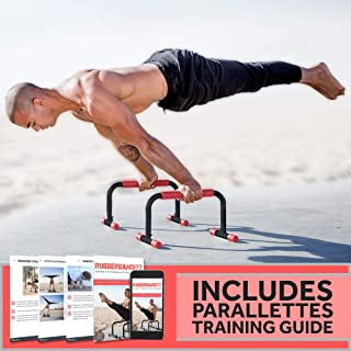 Rubberbanditz Parallettes Push Up & Dip Bars | Lightweight, Non-Slip Parallete Stand for Crossfit, Gymnastics, Bodyweight Training Workouts