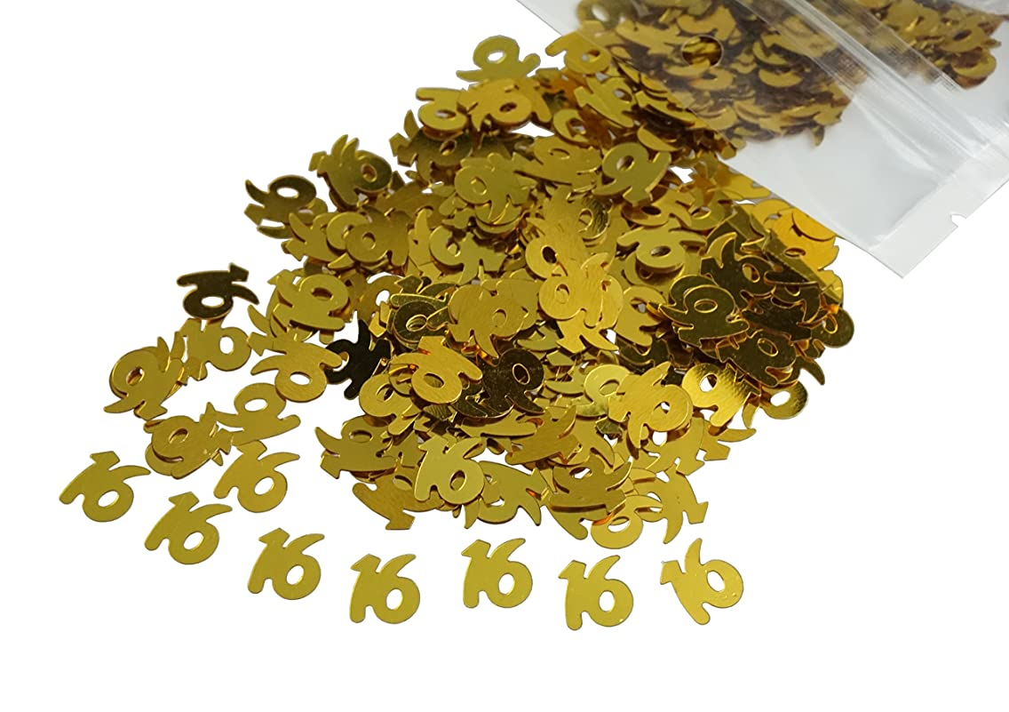 Gold Number 16 16th Anniversary Or Birthday Table Sequins Confetti for DIY Crafts And Party Supplies 1 Ounce by ZXSWEET