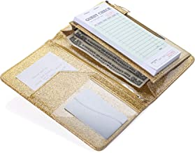 Sonic Server 5x8 Glitter Server Book Organizer with Magnetic Pocket, Zipper Pouch & Pen Holder for Waitress Waiter Waitstaff | Fits Apron Guest Checks Order Pad | Multiple Colors (Gold)