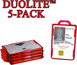 ID Stronghold Secure Badge Holder Duolite 5 Pack (IDSH2004-001B-red) Made in USA (5-Pack, Red)