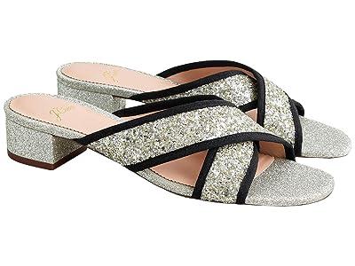 J.Crew Glitter Floral Sandal (Light Silver) Women