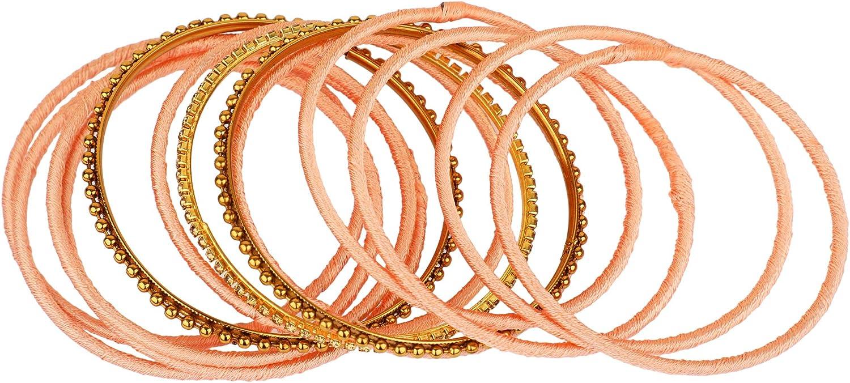 30 pc Efulgenz Indian Bracelet Floral Silk Thread Bangles Set Jewelry