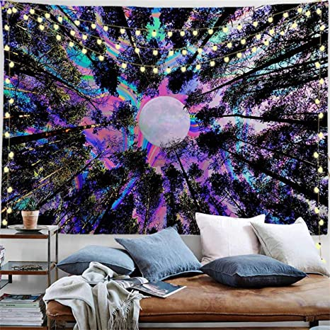 Amazon Com Procida Trippy Tapestry Psychedelic Moon Tapestry Forest Tree Colorful Wall Hanging Tapestry For Bedroom Ceiling Living Room College Dorm Decor Nails Included 90 W X 71 L Extra Large Trippy Tree