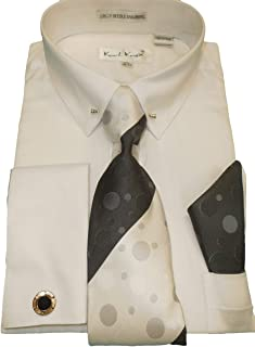 SX4409 Mens White Pointed Eyelet Pin Collar French Cuff Dress Shirt + Tie
