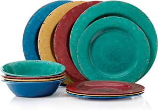Gibson Mauna 12pc Dinnerware Set - 4 Assorted Colors Burgundy/Blue/Green/Yellow - Melamine - 116356.12