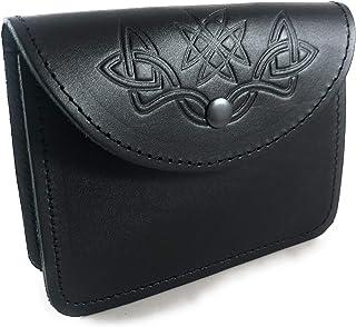 KSUC SUPPLIES, Original Leather Embossed Belt Pouch, Highland Bag Piper, Kilt Belt Sporran/Pouch. Black
