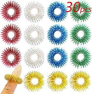 Spiky Sensory Rings, Finger Massager Roller, Silent Fidget Toy for ADHD, Autism, Stress Relief, 30 Pieces by FRIMOONY