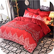 Solid Color Bed linens Luxury Bedding Sets Simple Bedclothes Family Duvet Cover Set Quilt Cover Queen King size-red-210x21...