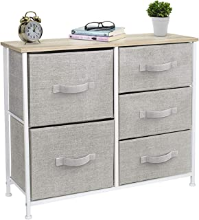 Sorbus Dresser with 5 Drawers - Furniture Storage Tower Unit for Bedroom, Hallway, Closet, Office Organization - Steel Frame, Wood Top, Easy Pull Fabric Bins (Beige)