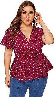 Best polka dot blouse plus size Reviews