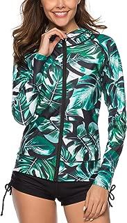 Caracilia Women's UPF 50+ Full Zip Front Long Sleeve Top Rashguard Hoodie Swimsuit(no Pant)