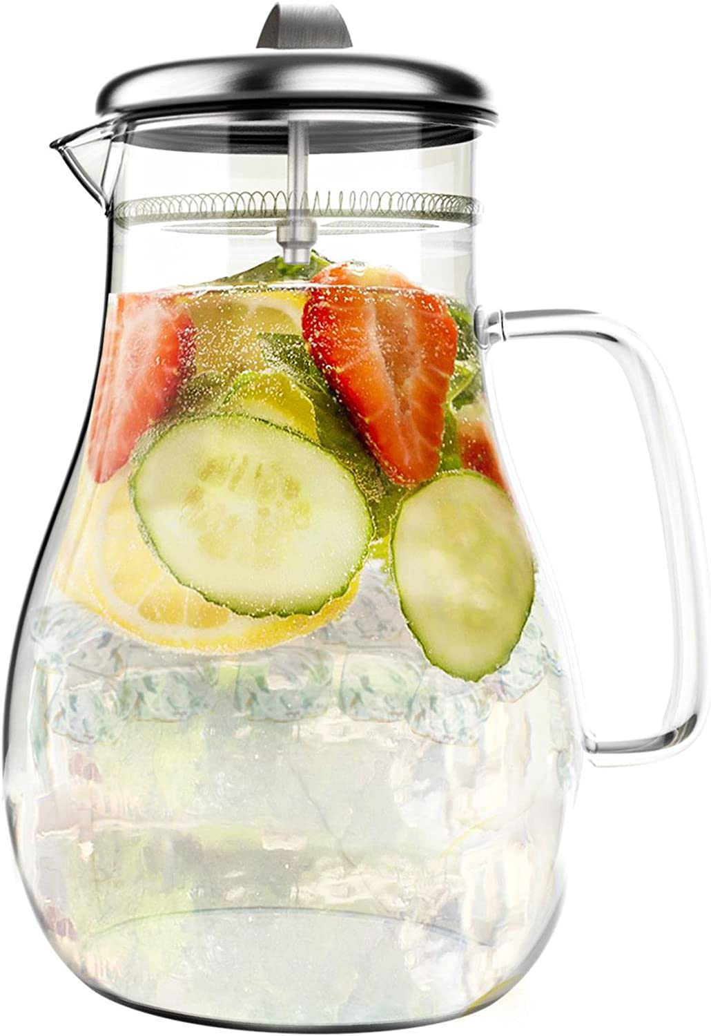 Classic Cuisine Glass Pitcher-64oz. Carafe with Stainless Steel Filter Lid-Heat Resistant to 300F-For Water, Coffee, Tea, Punch, Lemonade and More, 64 oz, Clear