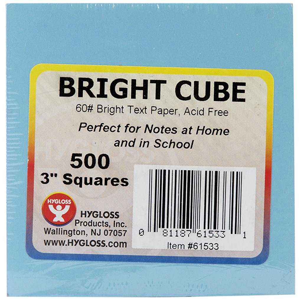 Hygloss 3x3 Bright Products Cube 500 Sheets, 3-Inch Paper Squares-10 Assorted Colors-1 Pad, Multicolor