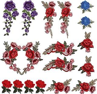 LEMESO 18 piezas Ropa Parches de Rosas Elegantes Material de Costura Adornos Flores para Ropa DIY Diseño Apliques de Modo ...