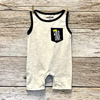 Wild One First Birthday Shirt Outfit Romper for 1 Year Old. 1st Summer Birthday Outfit.
