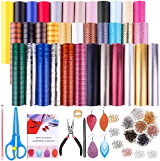 35 Pcs Faux Leather Sheets for Earring Making, Shynek Faux Leather Earring Making Supplies Kit Include 35 Faux Leather Fabric Sheets, Earring Hooks, Jump Rings and Tools for Earring Making, DIY Craft
