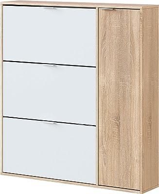Habitdesign Mueble Zapatero 4 Puertas, Modelo Class, Acabado en Roble Canadian y Blanco Artik, Medidas: 106 cm (Ancho) x 115 cm (Alto) x 22 cm (Fondo)