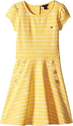 Short Sleeve Printed Pique Dress (Big Kids)