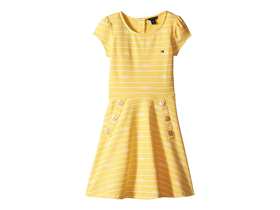 Tommy Hilfiger Kids Short Sleeve Printed Pique Dress (Big Kids) (Lightning) Girl