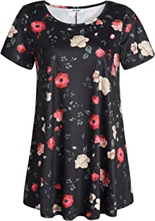 Sponsored Ad - Esenchel Women's Short Sleeves Patterned Tunic Top