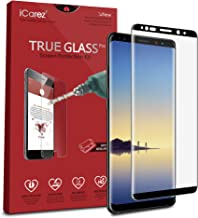 iCarez [Full Coverage Black Glass ] Screen Protector for Samsung Galaxy Note 8 Easy Install [ 2-Pack 0.33MM 9H 2.5D] - Retail Packaging