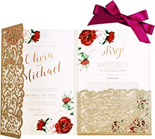 PONATIA 20 Pieces 5.1 x 7.2 '' Laser Cut 3 Folds Hollow Flowers Wedding Invitation Cards with Envelopes Ribbons for Wedding Bridal Shower Engagement Birthday Party Invite (Gold glitter)