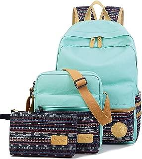 Leaper Canvas Laptop Bag School Backpack Shoulder Bag Pencil Case Water Blue