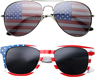 2 Pair Combo Patriotic American US Flag Sunglasses Bulk USA