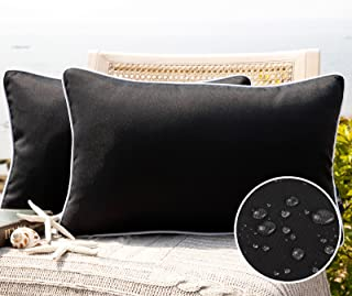 Phantoscope Pack of 2 Outdoor Waterproof Throw Pillow Covers Decorative Square Outdoor Pillows Cushion Case Patio Pillows ...