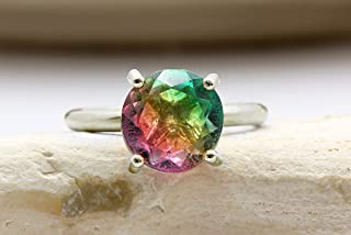 Stylish 10mm Tourmaline Ring by Anemone Unique - Exquisite Watermelon Tourmaline Gold Ring to Promote Detoxification and Healthy Mood - 4-Prong Artisan Gemstone Ring