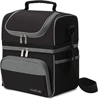Apollowalker Lunch Box Insulated Lunch Bag Large Waterproof Cooler Picnic Tote Bag for Adult Men, Women, Double Deck Cooler, Black